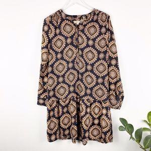 Loft Patterned Long Sleeve Dress size Medium